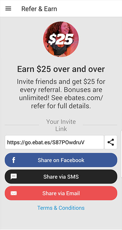 Refer and earn with Rakuten! Refer a friend with your invite code. Your friend will receive a $10 sign up bonus and you'll receive a $25 referral.