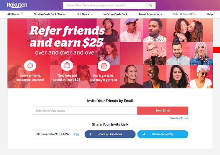 Looking for a side hustle or just want some extra money for shopping? Rakuten offers you a $25 reward for every qualifying person you refer. Think about it. You can earn extra money by helping others save money on items they're already purchasing. They even get a $10 sign up bonus. Free money! It's a win-win for everyone!